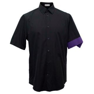 Balenciaga Men's Black Short Sleeved Shirt with Purple Cuff