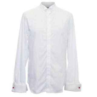 Acne Studios White Shirt with Textured Collar and Cuffs