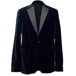 Acne Men's Navy Velvet Tuxedo Jacket with Silk Lapels