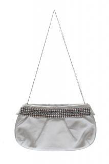 Gina London Metallic Leather Clutch Bag with Swarovski Crystals