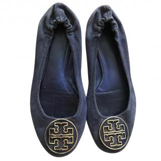 Tory Burch Navy Blue Suede Flats