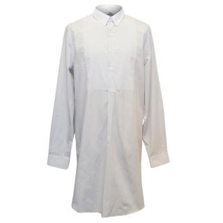 Acne Men's Long Cream Patterned Shirt with Removable Collar