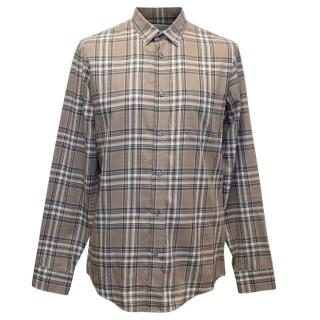 Maison Martin Margiela Men's Brown and Cream Check Shirt