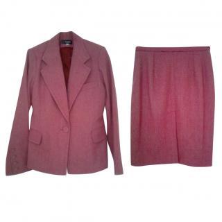 Joseph Pink/Grey Herringbone Tweed Skirt Suit
