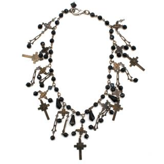 Erickson Beamon Black Beaded and Brass Cross Chocker