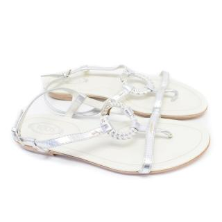 Tod's Silver Flat Sandals