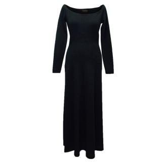 Donna Karan Black Flared Off the Shoulder Dress