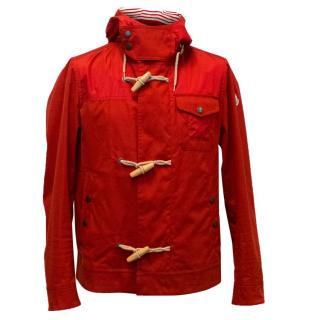 Moncler Men's Red Hooded Jacket with Toggle Buttons
