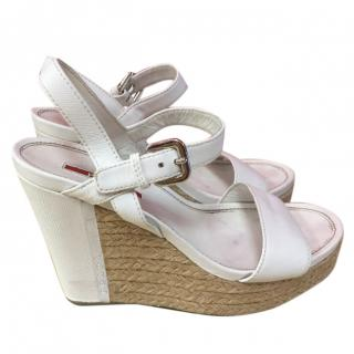 Prada White Leather Wedges