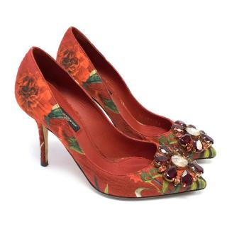 Dolce & Gabbana Red Embellished Patterned Jacquard Pumps