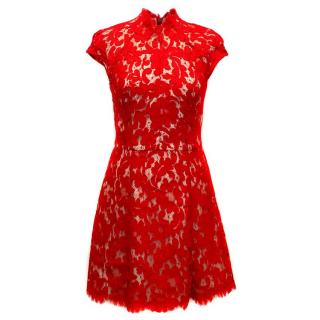 Lover A-line Red Lace Dress
