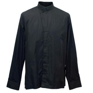 Saint Laurent Men's Black Shirt with a Banded Collar