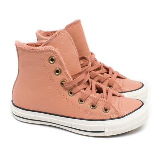 Converse Pink Leather High Top All Stars