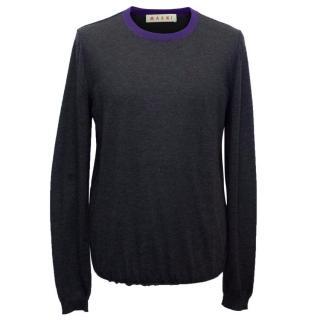 Marni Men's Dark Grey Wool Blend Fine Knit Jumper