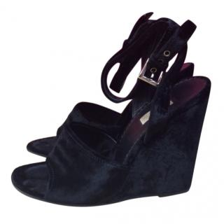 Prada Velvet Wedges