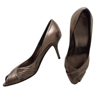 Salvatore Ferragamo Leather Bronze Heels