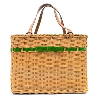 Kate Spade Wicker Basket Handbag with Velvet Green Bow