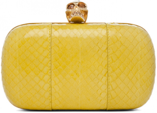 Alexander McQueen Yellow Skull Box Clutch