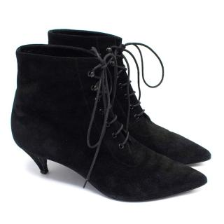 Saint Laurent Black Suede Lace Up Booties