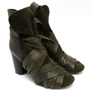 Isabel Marant Olive Green Suede and Leather Booties