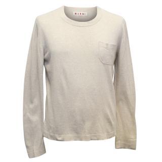 Marni Men's Beige Cotton Blend Long Sleeved Top