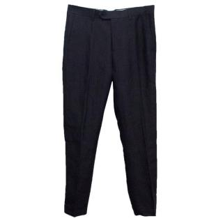 Acne Men's Navy Linen Blend Trousers