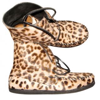 Isabel Marant Flavie Leopard pony hair mocassin boots