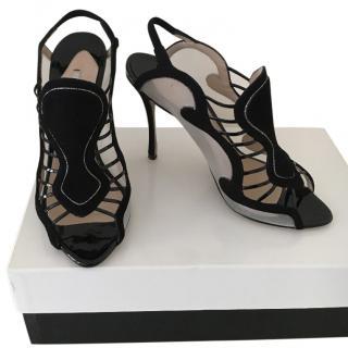 Nicholas Kirkwood Suede and Mesh Heeled Sandals