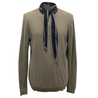 The Kooples Men's Olive Green Jumper with Scarf Collar