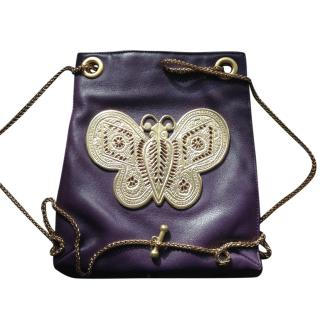 Kenneth Jay Lane purple leather gold butterfly bag
