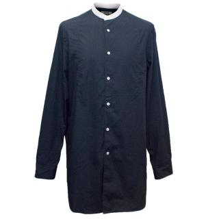 Acne Men's Long Navy Shirt with Dot Pattern and White Collar