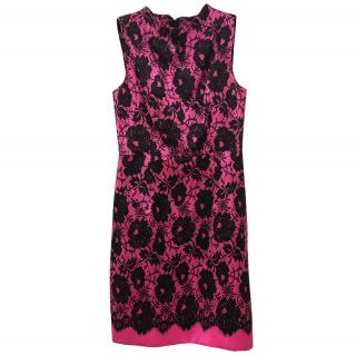 Milly Black and Pink Lace Cocktail dress