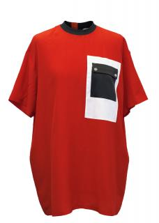 Givenchy Red Silk T-Shirt with a Breast Pocket