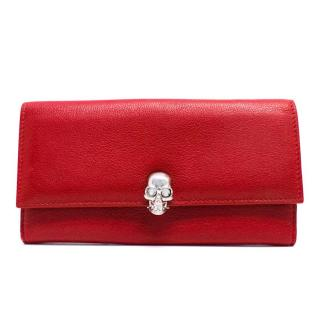 Alexander McQueen Red Leather Wallet with Silver Skull