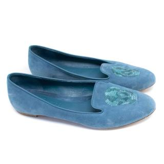Alexander McQueen Blue Suede Loafers with Sequinned Skull