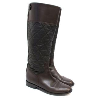 Chanel Brown Leather Quilted Long Boots