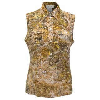 Celine Silk Printed Brown and Yellow Pattern Top