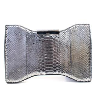 Alexander McQueen Silver Python Squeeze Clutch