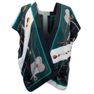 Hermes Patterned Silk Wrap Scarf Top