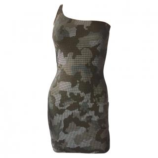 Balmain Metal Sequin Camouflage Dress
