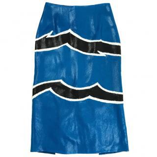 Missoni Blue Skirt with Black Stripe