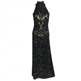 Roberto Cavalli Black and Gold Metallic Gown