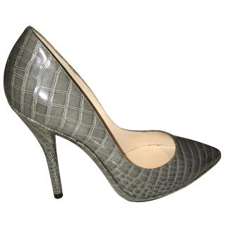 Casadei Grey Crocodile Embossed Heels