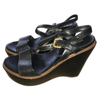 Prada Black Leather Strap Sandals