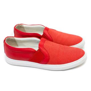 Lanvin Red Leather and Canvas Skater Shoes