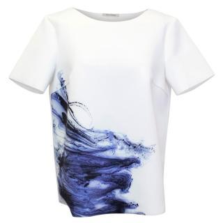 Zoe Jordan Neoprene White T-Shirt with Ink Print