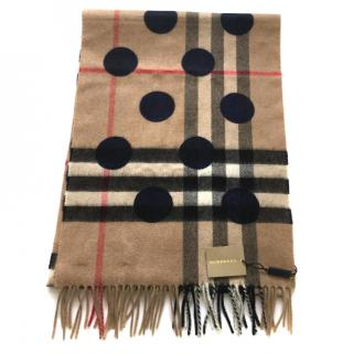Burberry Cashmere Check and Dot Scarf