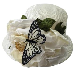 Philip Treacy White Floral Butterfly Hat
