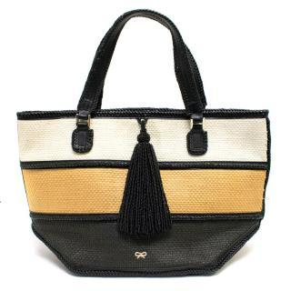 Anya Hindmarch White Raffia Tri Colour Straw Basket