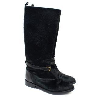 Yves Saint Laurent Black Pony Hair Boots